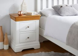 Farmhouse White Painted 2 Drawer Oak Bedside Table