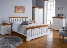 Farmhouse white painted oak bedroom furniture roomset photo