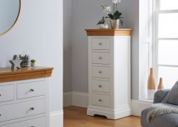 Farmhouse White Painted 5 Drawer Oak Tallboy Chest of Drawers