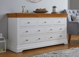 Farmhouse White Painted 3 Over 4 Oak Chest of Drawers