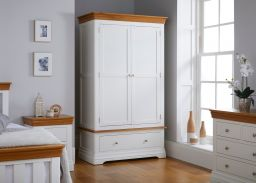 Farmhouse White Painted 2 Door Double Wardrobe with Drawer