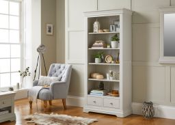 Toulouse Grey Painted Tall Bookcase 2 Storage Drawers