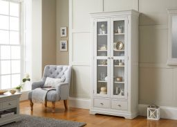 Toulouse Grey Painted Tall Glass Display Cabinet with Drawers
