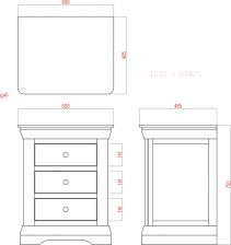 Toulouse White Painted 3 Drawer Large Grande Bedside Table dimensions technical drawing