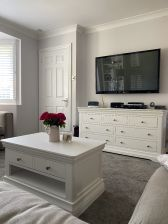 Toulouse White Painted Large 3 Over 4 Chest of Drawers - customer photo in living room