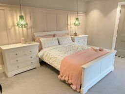 Toulouse White Painted 5 Foot King Size Bed photo taken by @thepennrenovation on Instagram