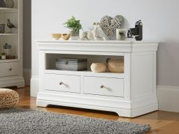 Toulouse White Painted TV Unit 2 Drawers