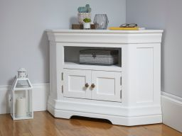 Toulouse White Painted Corner TV Unit 2 Doors storage