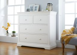 Toulouse White Painted Large 2 Over 2 Chest Drawers - Grande Size