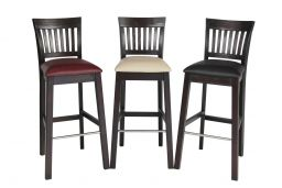 Java Dark Acacia Wooden Bar Stool Dark Brown Leather Pad