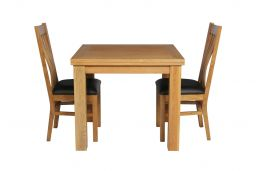 Lichfield 90cm to 180cm Flip Top Extending Table 2 Chelsea Brown Leather Chairs