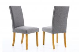 Mayfair Silver Grey Fabric Studded Dining Chair