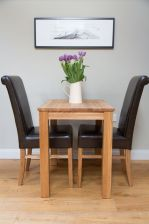 Minsk 60cm Table & 2 Emperor Brown Leather Chairs