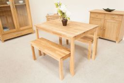 Minsk Petite 110cm Oak Table Pair 95cm Bench Set