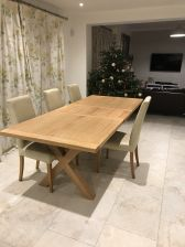 Provence 2.8m double extending oak table in a customers house