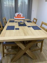 Provence 2.8m double extending oak table in a customers dining room
