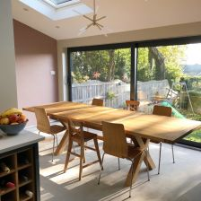 Provence 2.8m double extending oak table in a customers extension