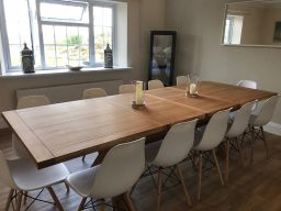 Provence 2.8m double extending oak table in a customers home