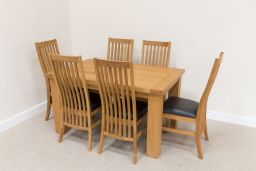 Riga 1.4m Oak Dining Table Set 6 Lichfield Brown Leather Dining Chairs