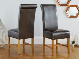 Titan Dark Brown Leather Scroll Back Dining Chairs Oak Legs
