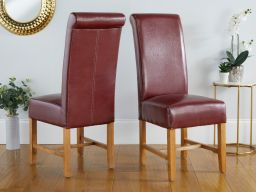Titan Claret Red Scroll Back Leather Dining Chair