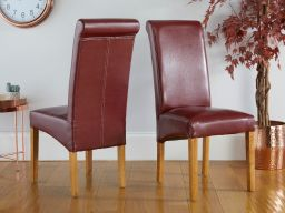 Tuscan Claret Red Leather Scroll Back Dining Chair