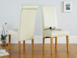 Tuscan Cream Leather Scroll Back Dining Chair