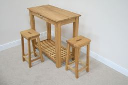 Tutbury Oak Breakfast Console Table 2 Refectory Oak Stools
