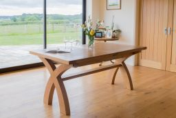 180cm to 230cm Country Oak Cross Leg Extending Table Square End