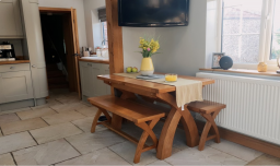Country Oak 1.3 - 1.8m Cross Leg Oak Dining Table - customer kitchen table and chair bench set photo