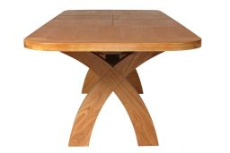 Country Oak 2.8m X Leg Double Extending Large Table Oval End