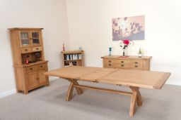 Country Oak 3.4m Cross Leg Double Extending Table Square Ends
