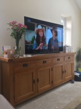 Large Country Oak Sideboard 200cm customer photo using as a large TV stand