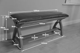 Country Oak 120cm Cross Leg Dark Brown Leather Bench