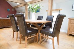Country Oak 140cm X Leg Oval Table 4 Emperor Brown Leather Chairs