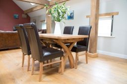 Country Oak 130cm extending to 180cm X Leg Table 4 Emperor Brown Leather Chairs