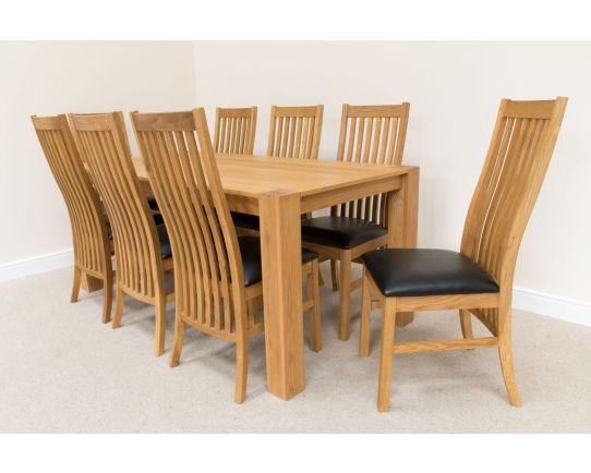 1.8m Cambridge Oak Table and 8 Lichfield Black Leather Dining Chairs Set