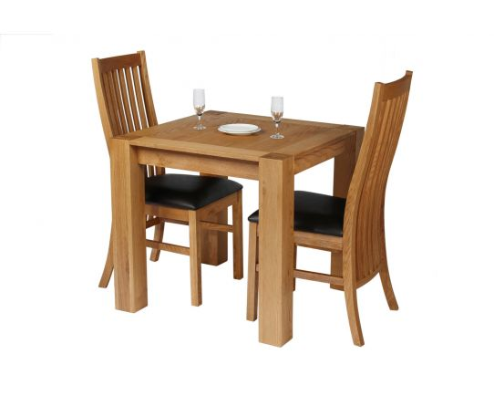 Cambridge 80cm Oak Table 2 Lichfield Brown Leather Chair Set