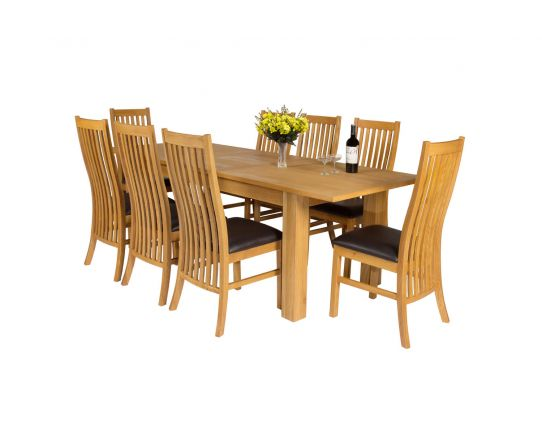 Caravella 230cm Extending Oak Table 8 Lichfield Brown Leather Oak Chair Set