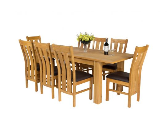Caravella 230cm Extending Oak Table 8 Churchill Brown Leather Oak Chair Set