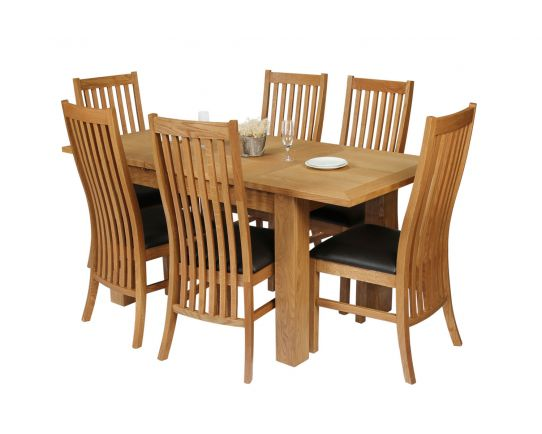 Caravella 170cm Extending Oak Table 6 Lichfield Brown Leather Oak Chair Set