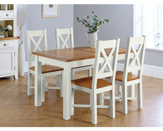 Country Oak 180cm Grey Painted Extending Dining Table and 4 Grasmere Grey Painted Chairs