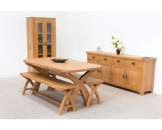 Country Oak 180cm Cross Leg Oval Table & 2 x 160cm Benches Dining Set