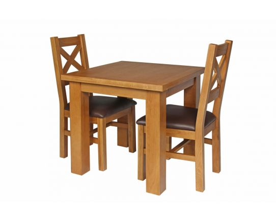 Country Oak 80cm Oak Table and 2 Windermere Brown Leather Chair Set - SUMMER SALE