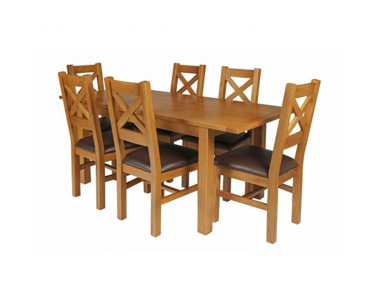 Country Oak 180cm Extending Oak Table and 6 Windermere Brown Leather Seat Chair Set