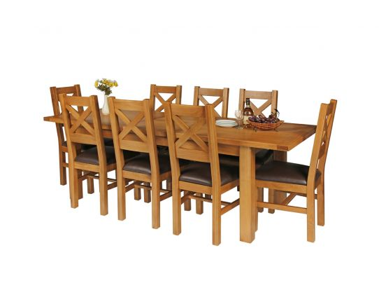 Country Oak 230cm Extending Oak Table and 8 Windermere Brown Leather Seat Chair Set