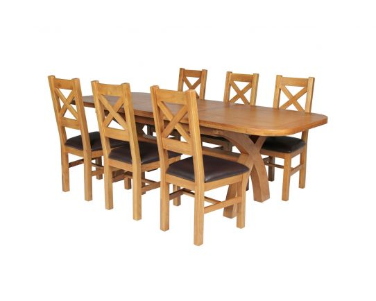 Country Oak 230cm Cross Leg Oval Table and 6 Windermere Brown Leather Chairs