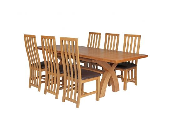 Country Oak 230cm Cross Leg Square Table and 6 Dorchester Brown Leather Chairs