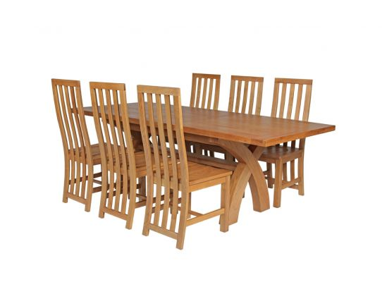 Country Oak 230cm Cross Leg Square Table and 6 Dorchester Timber Seat Chairs