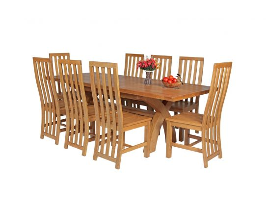 Country Oak 230cm Cross Leg Square Table and 8 Dorchester Timber Seat Chairs